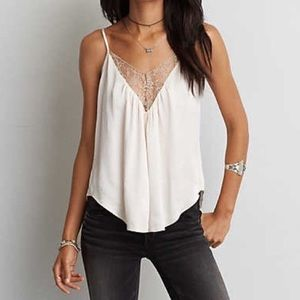 aeo silky plunge lace cami